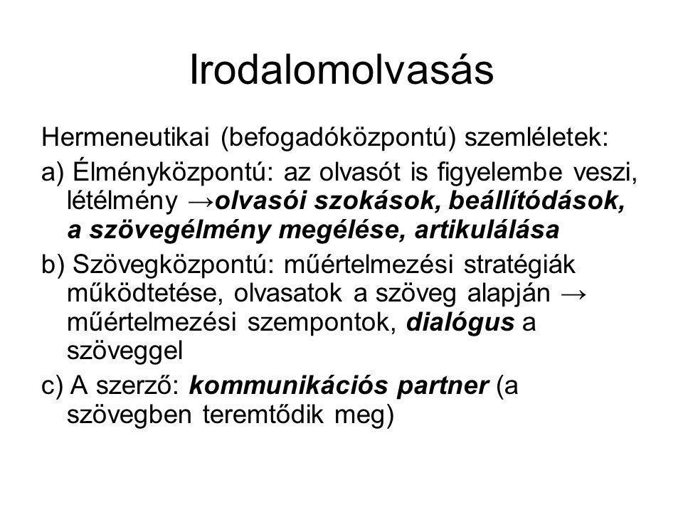 Irodalomolvasás Hermeneutikai (befogadóközpontú) szemléletek:
