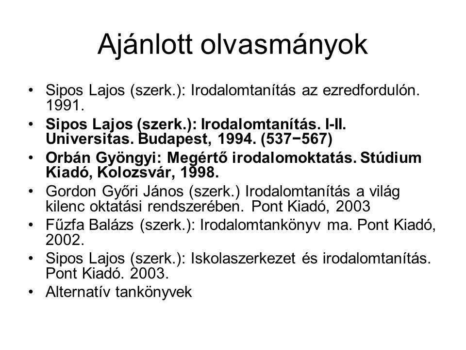 Ajánlott olvasmányok Sipos Lajos (szerk.): Irodalomtanítás az ezredfordulón. 1991.