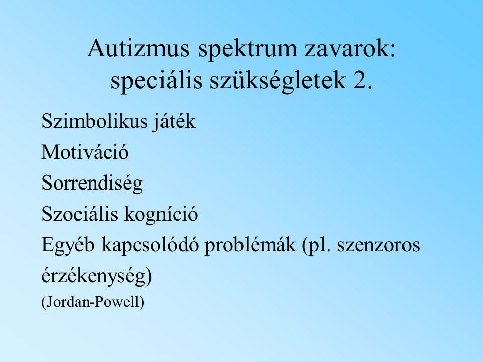 Autizmus spektrum zavarok: speciális szükségletek 2.