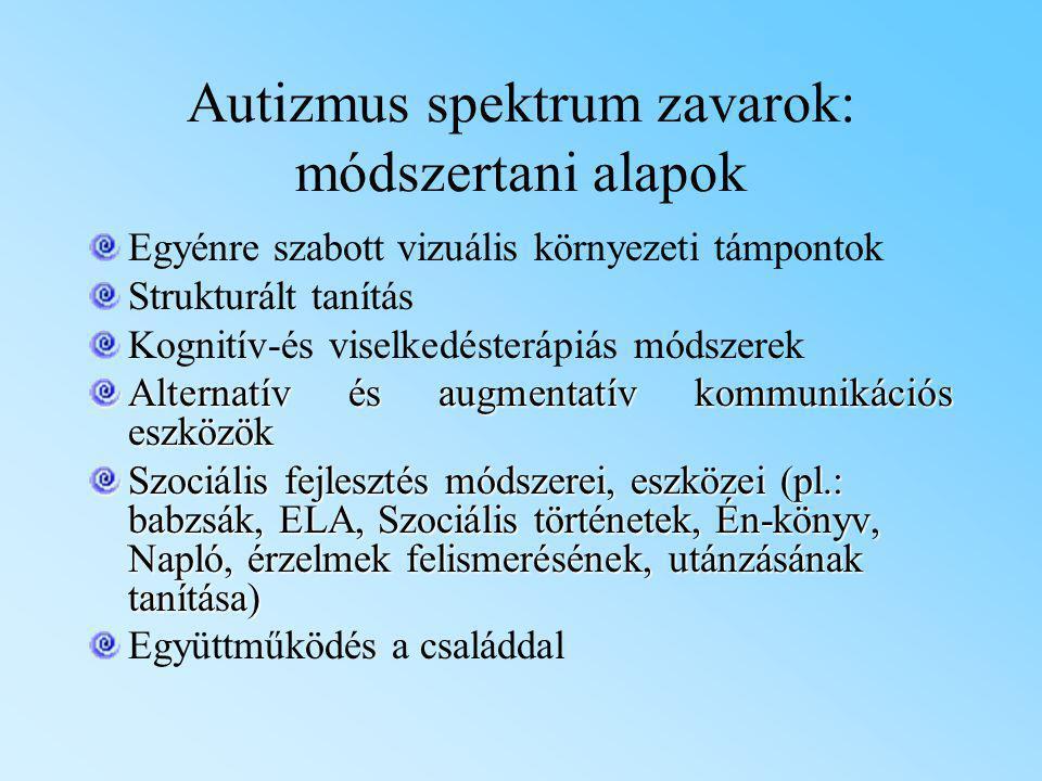 Autizmus spektrum zavarok: módszertani alapok