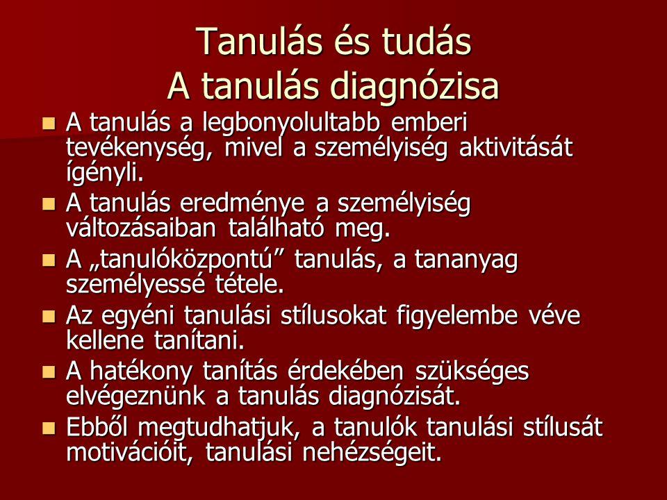 Tanulás és tudás A tanulás diagnózisa