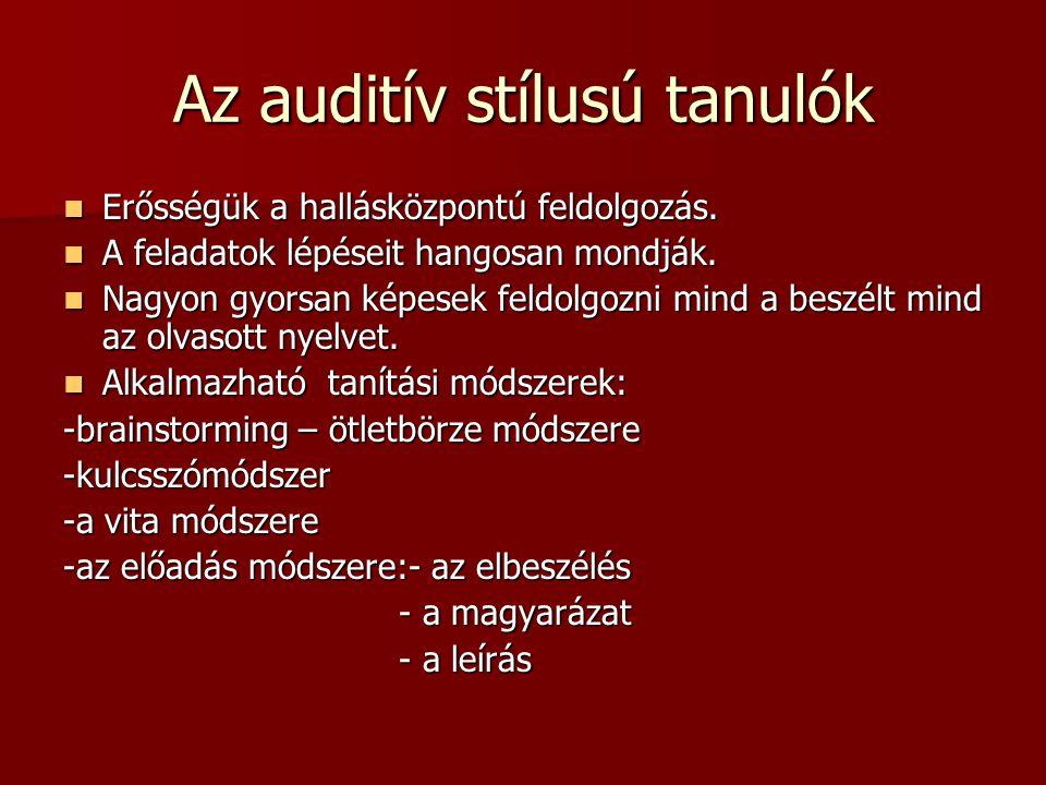 Az auditív stílusú tanulók