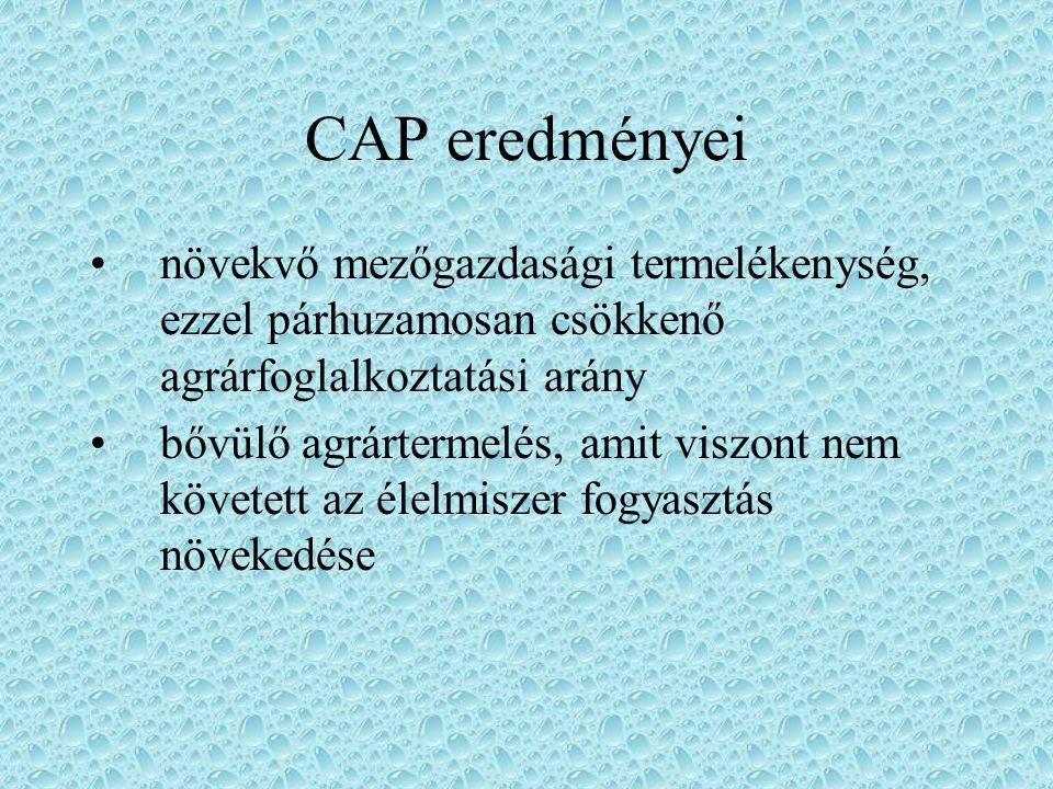 CAP eredményei növekvő mezőgazdasági termelékenység, ezzel párhuzamosan csökkenő agrárfoglalkoztatási arány.