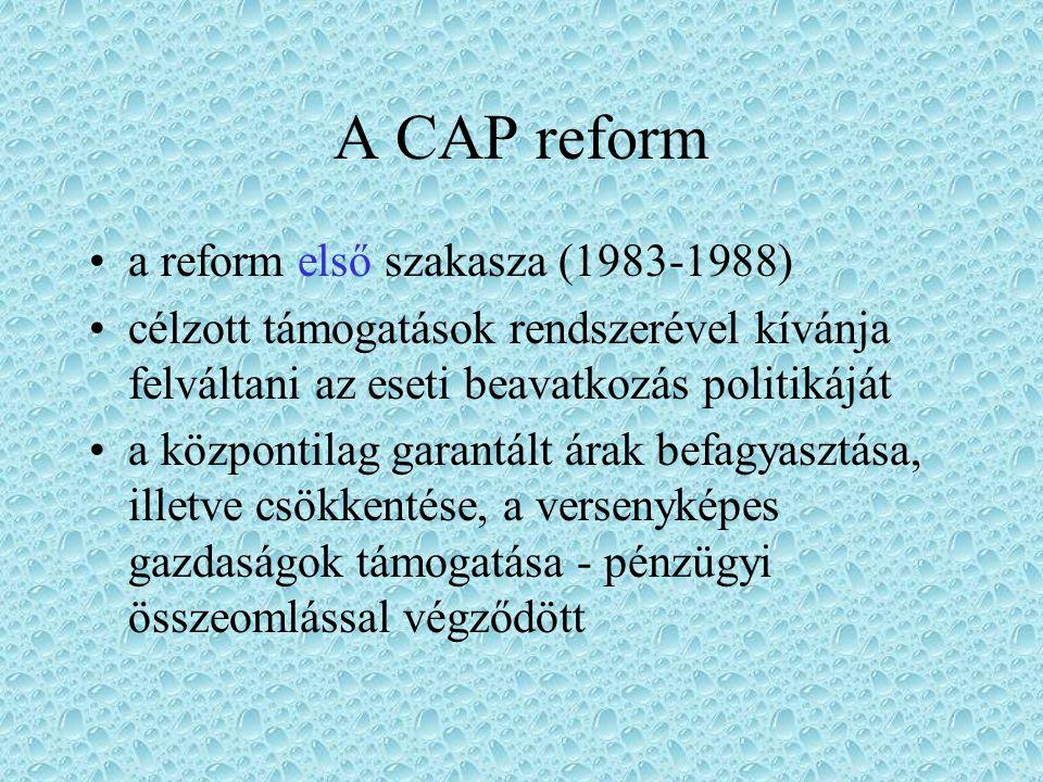 A CAP reform a reform első szakasza (1983-1988)
