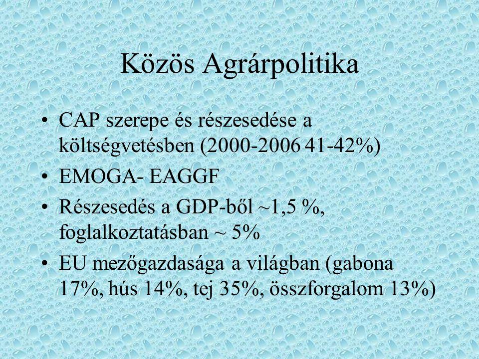Közös Agrárpolitika CAP szerepe és részesedése a költségvetésben (2000-2006 41-42%) EMOGA- EAGGF.
