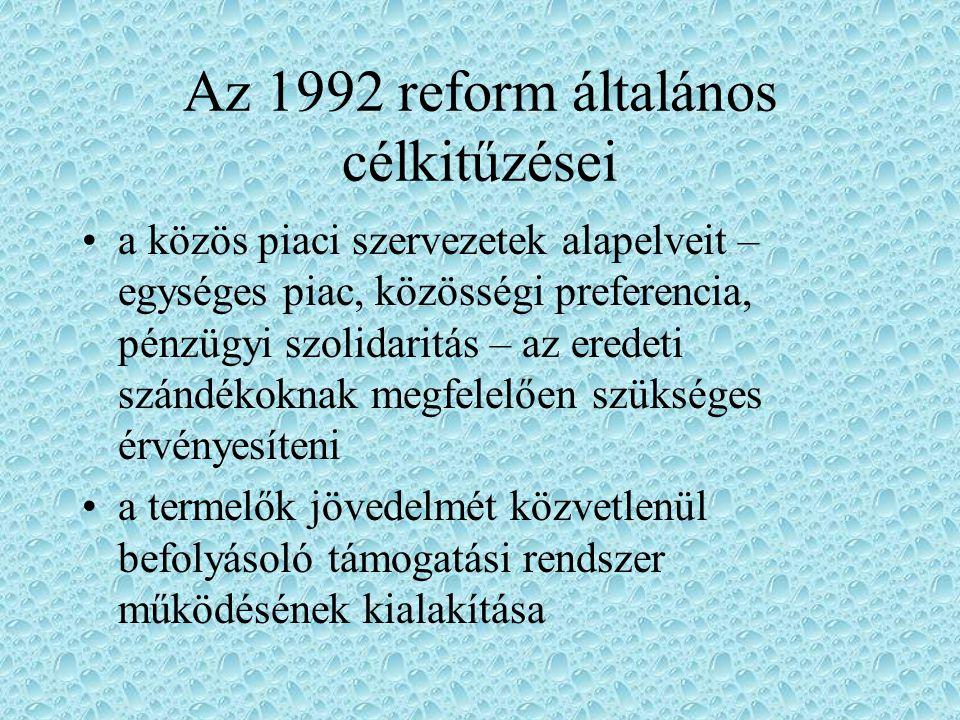 Az 1992 reform általános célkitűzései