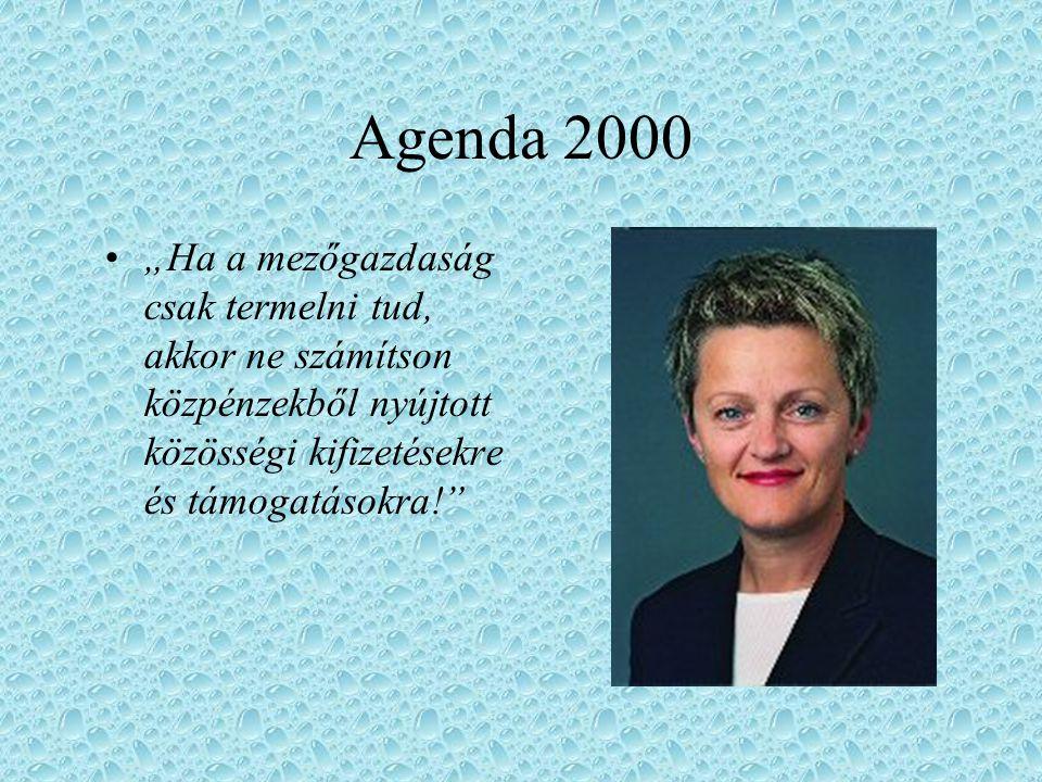 """Agenda 2000 """"Ha a mezőgazdaság csak termelni tud, akkor ne számítson közpénzekből nyújtott közösségi kifizetésekre és támogatásokra!"""