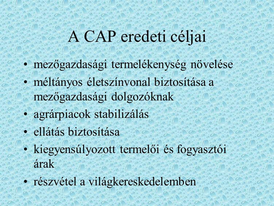 A CAP eredeti céljai mezőgazdasági termelékenység növelése
