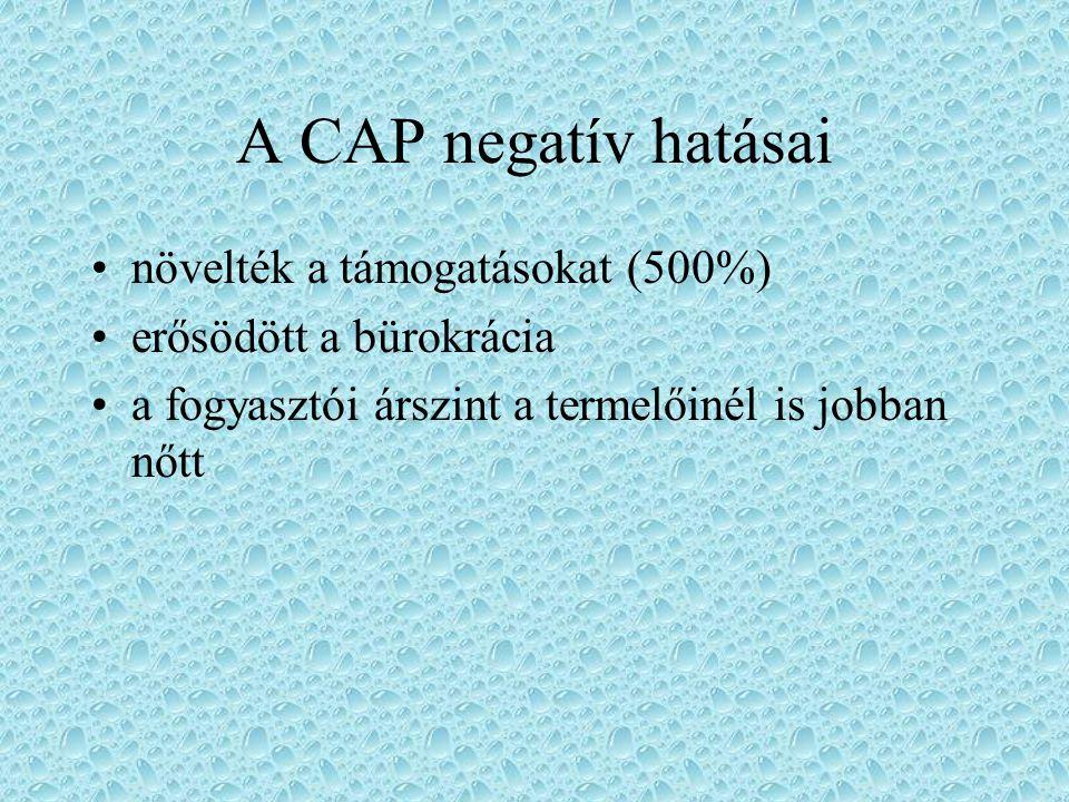 A CAP negatív hatásai növelték a támogatásokat (500%)