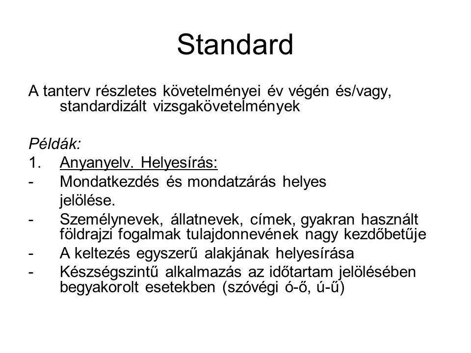 Standard A tanterv részletes követelményei év végén és/vagy, standardizált vizsgakövetelmények. Példák: