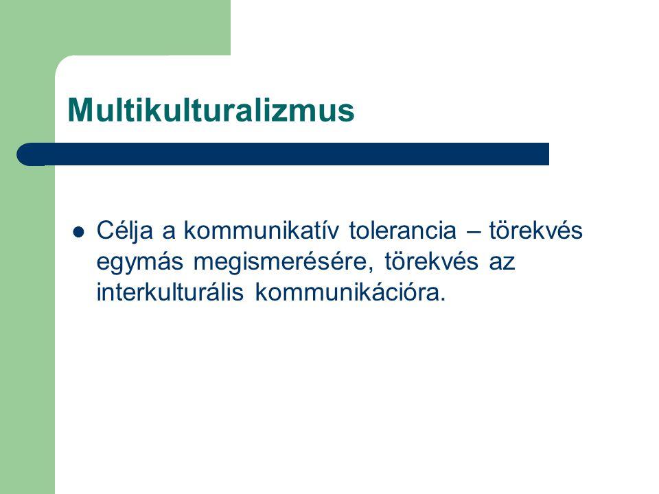 Multikulturalizmus Célja a kommunikatív tolerancia – törekvés egymás megismerésére, törekvés az interkulturális kommunikációra.