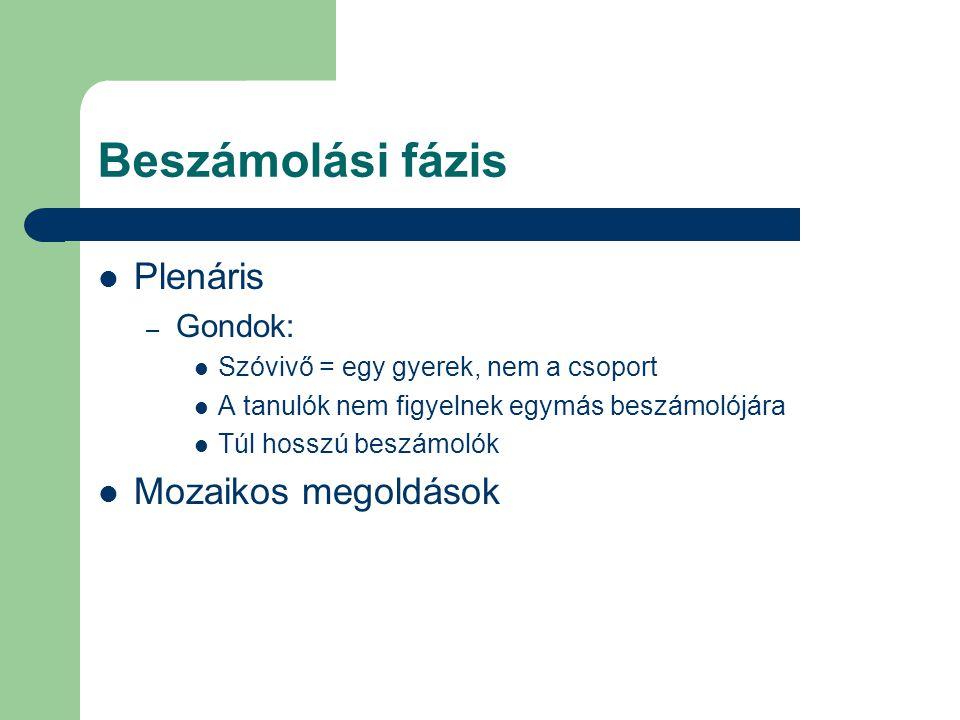Beszámolási fázis Plenáris Mozaikos megoldások Gondok: