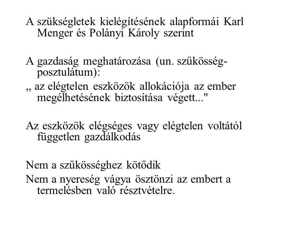 A szükségletek kielégítésének alapformái Karl Menger és Polányi Károly szerint