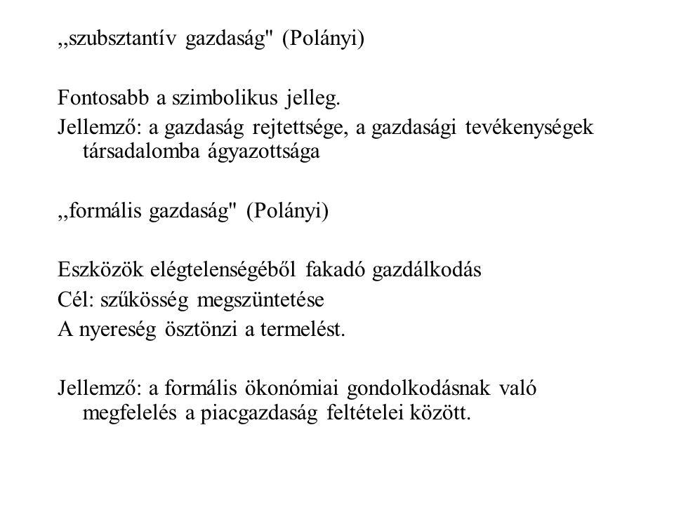 ,,szubsztantív gazdaság (Polányi)