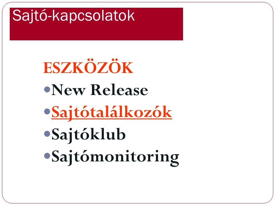 ESZKÖZÖK New Release Sajtótalálkozók Sajtóklub Sajtómonitoring