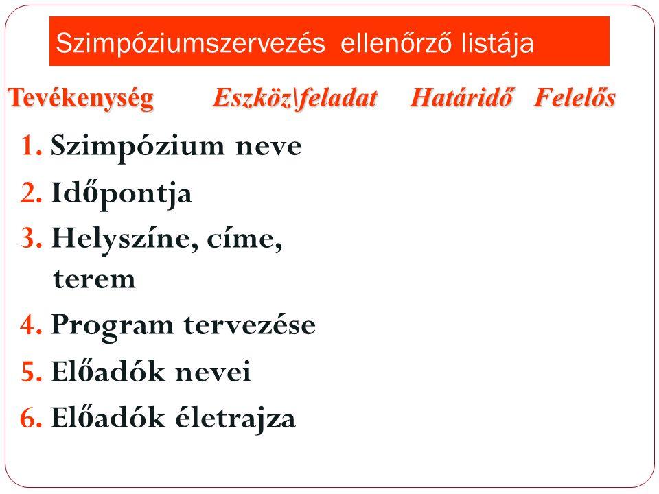 Szimpóziumszervezés ellenőrző listája
