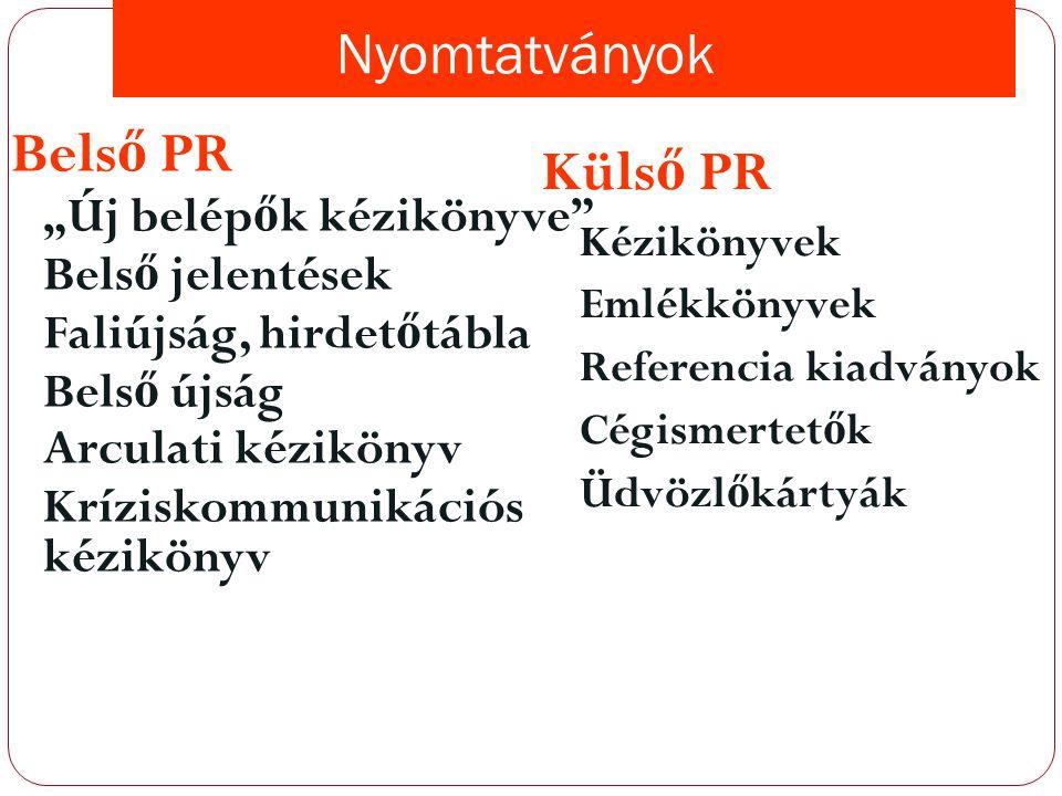 Belső PR Külső PR Nyomtatványok Belső jelentések