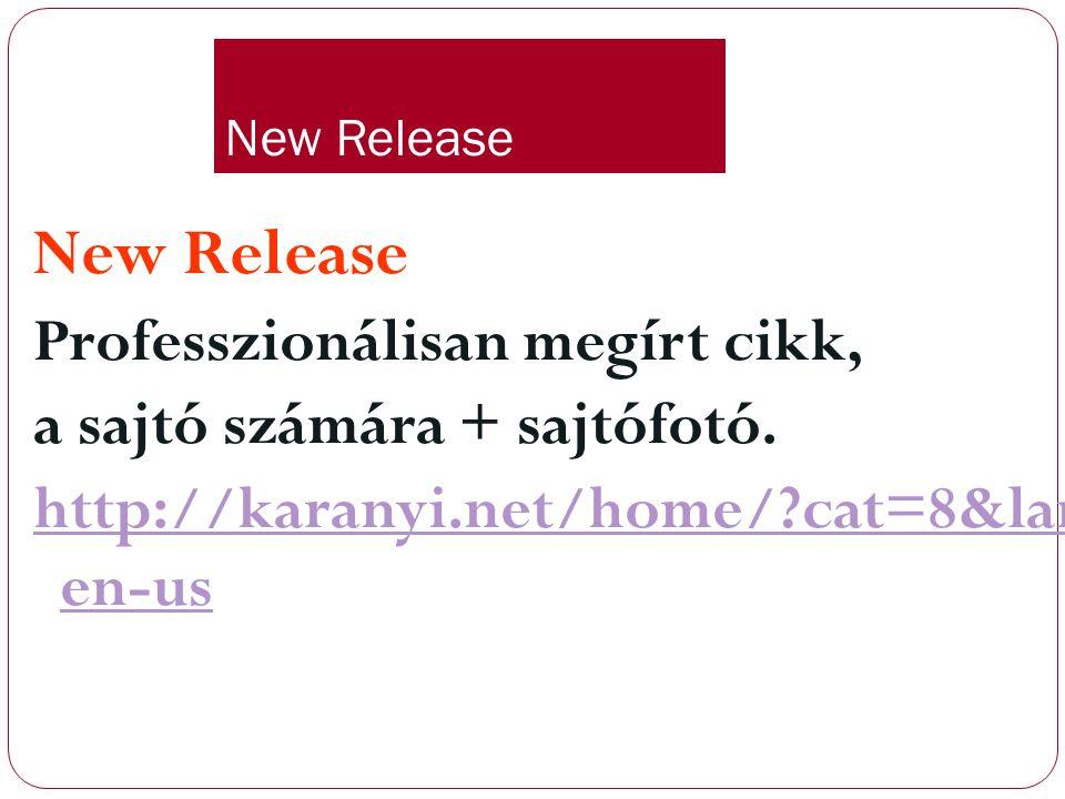 New Release Professzionálisan megírt cikk,