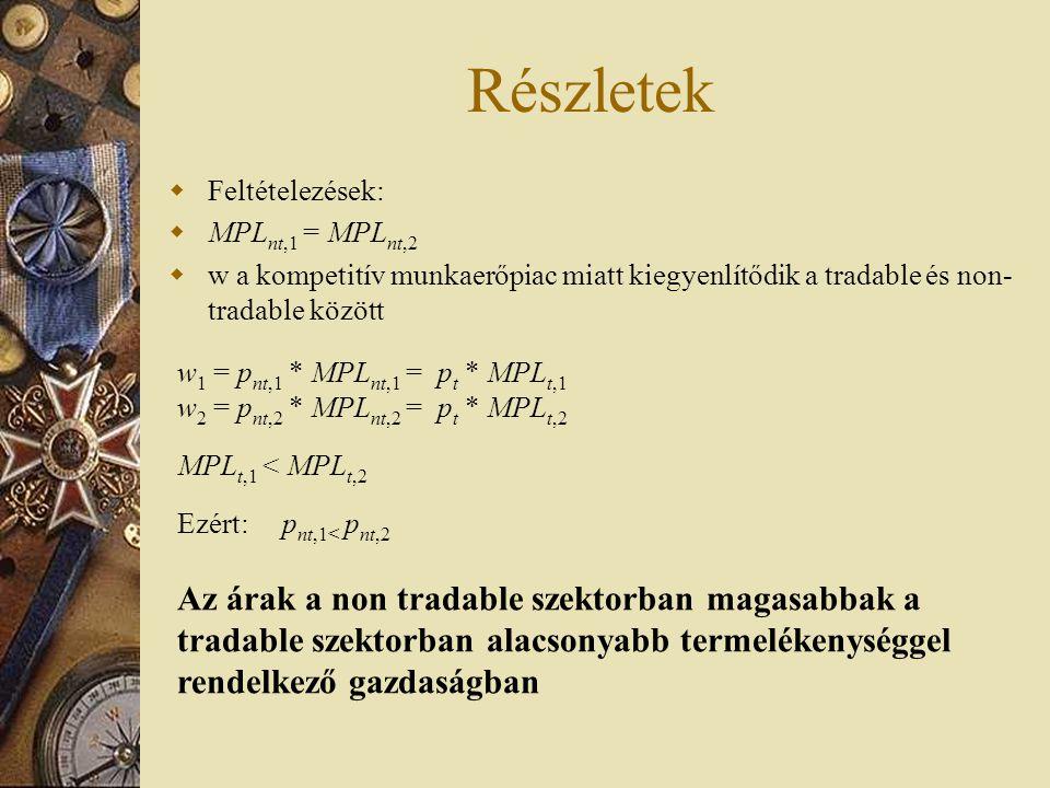 Részletek Feltételezések: MPLnt,1 = MPLnt,2. w a kompetitív munkaerőpiac miatt kiegyenlítődik a tradable és non-tradable között.
