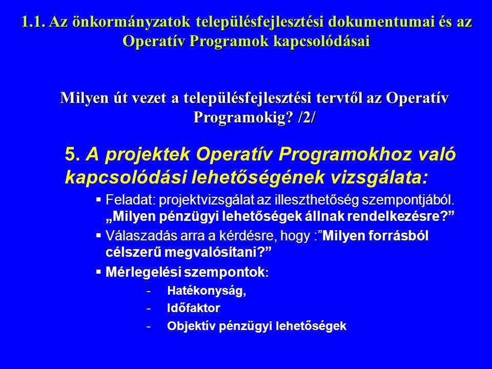 1.1. Az önkormányzatok településfejlesztési dokumentumai és az Operatív Programok kapcsolódásai