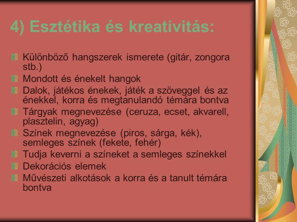4) Esztétika és kreativitás: