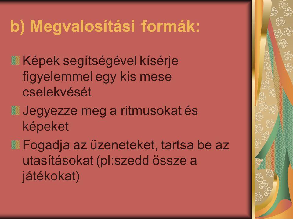 b) Megvalosítási formák: