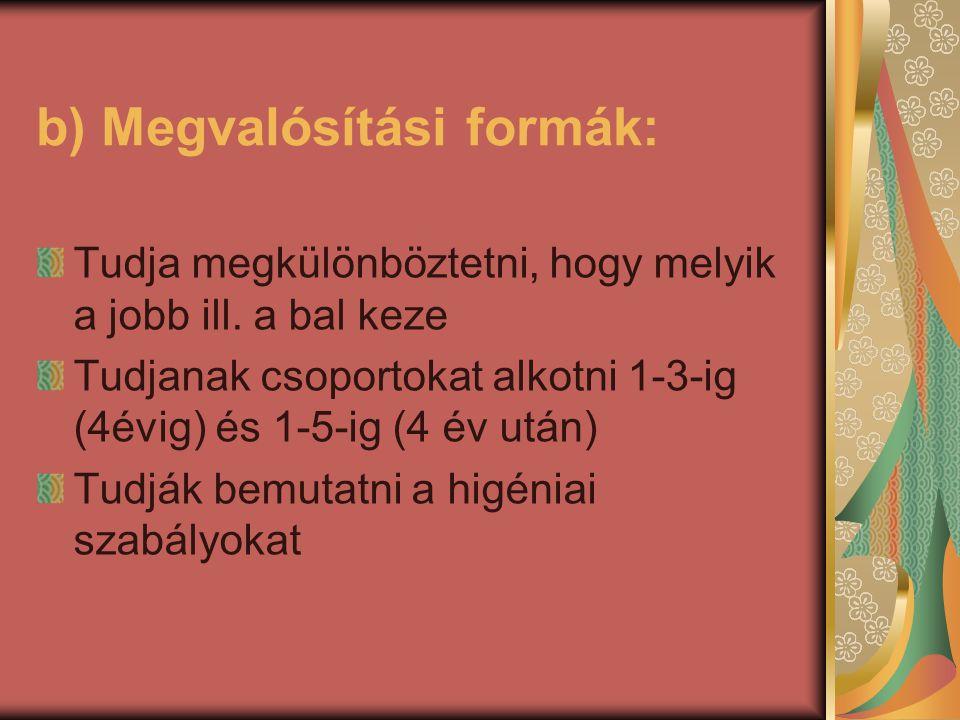b) Megvalósítási formák: