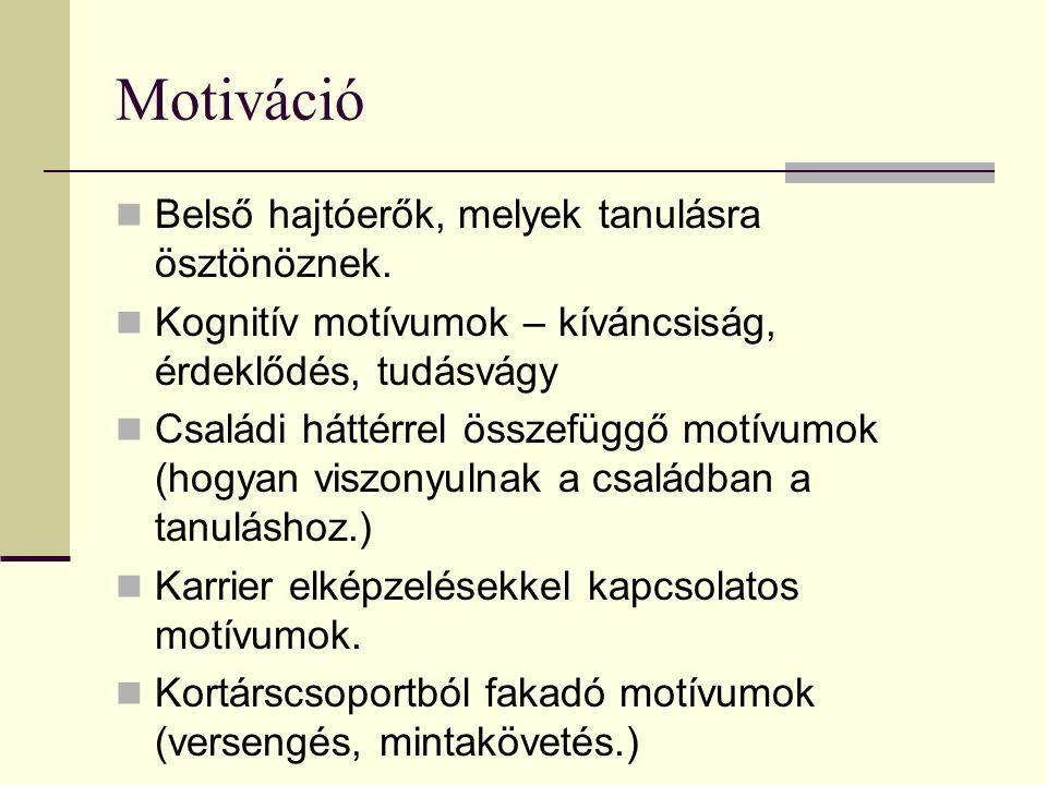 Motiváció Belső hajtóerők, melyek tanulásra ösztönöznek.