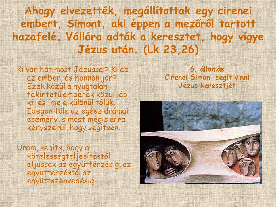 Cirenei Simon segít vinni Jézus keresztjét