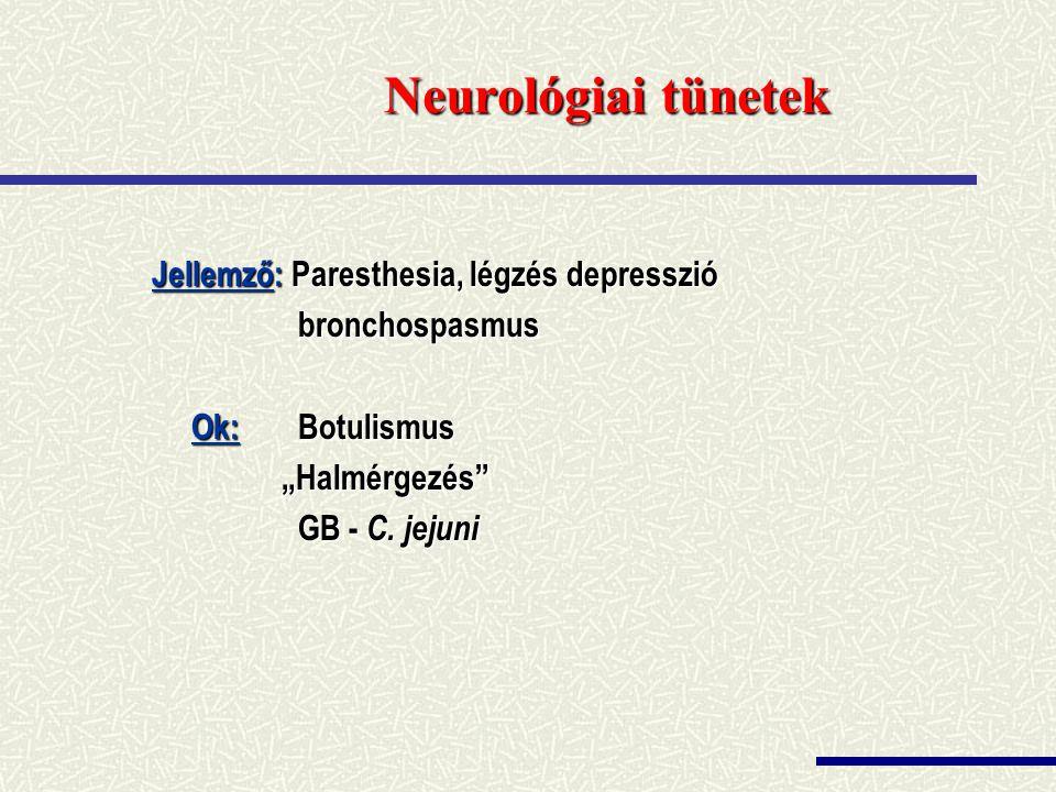 Neurológiai tünetek Jellemző: Paresthesia, légzés depresszió