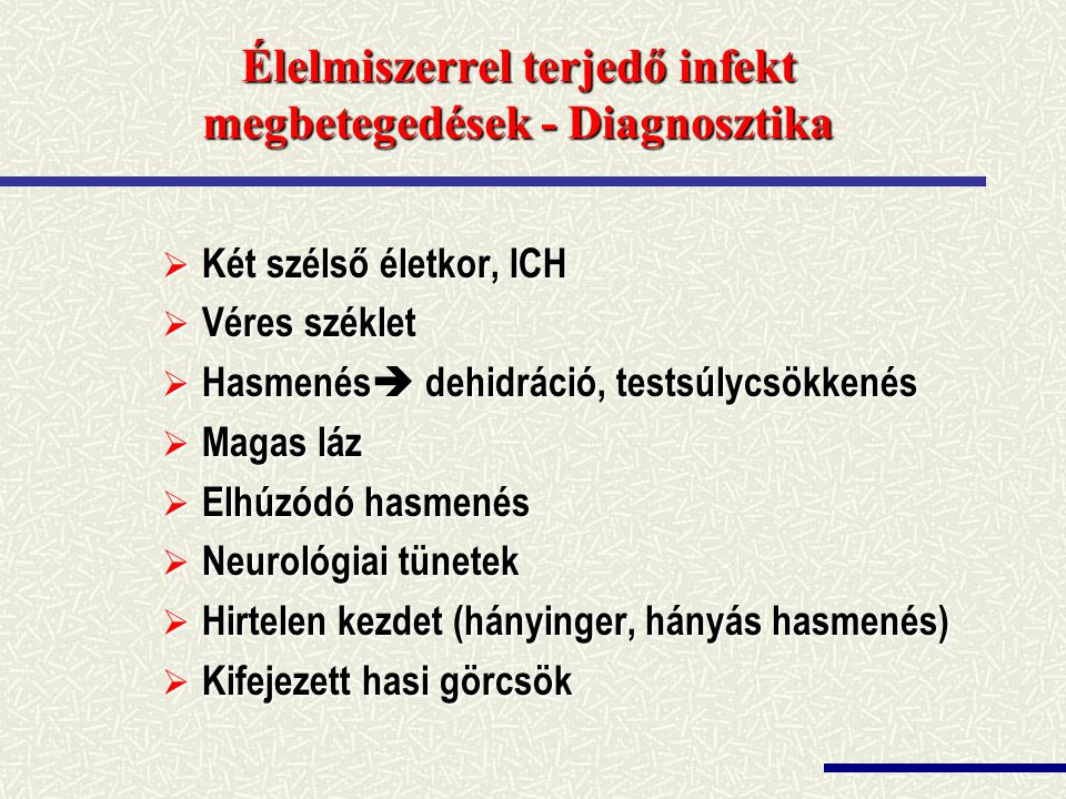 Élelmiszerrel terjedő infekt megbetegedések - Diagnosztika
