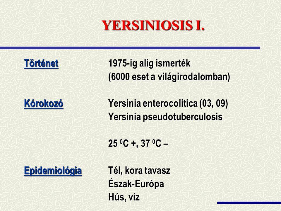 YERSINIOSIS I. Történet 1975-ig alig ismerték