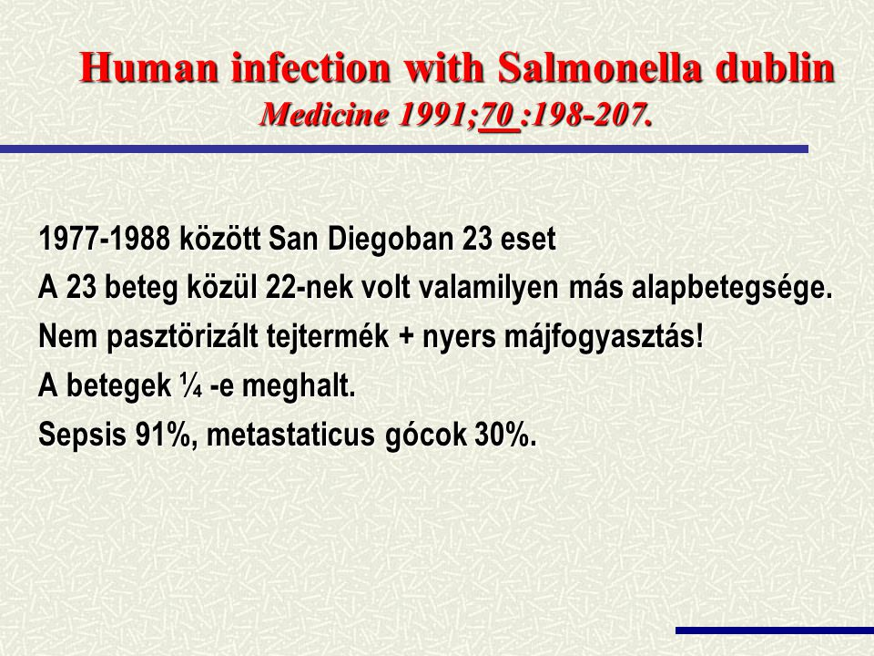 Human infection with Salmonella dublin Medicine 1991;70 :198-207.