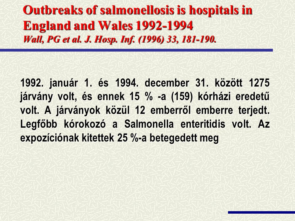 Outbreaks of salmonellosis is hospitals in England and Wales 1992-1994 Wall, PG et al. J. Hosp. Inf. (1996) 33, 181-190.