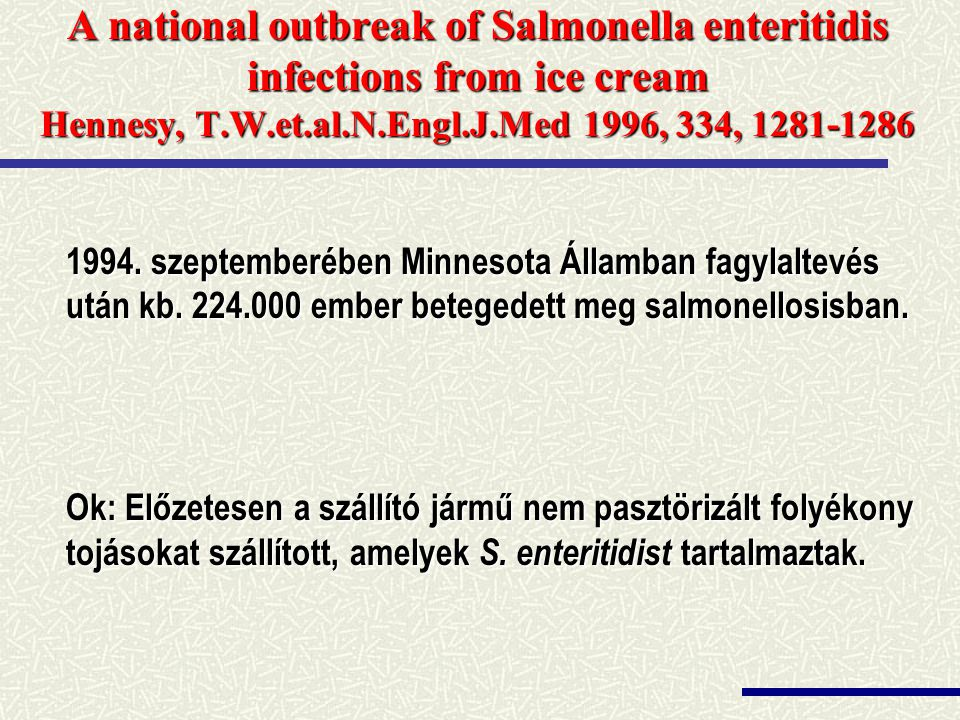 A national outbreak of Salmonella enteritidis infections from ice cream Hennesy, T.W.et.al.N.Engl.J.Med 1996, 334, 1281-1286