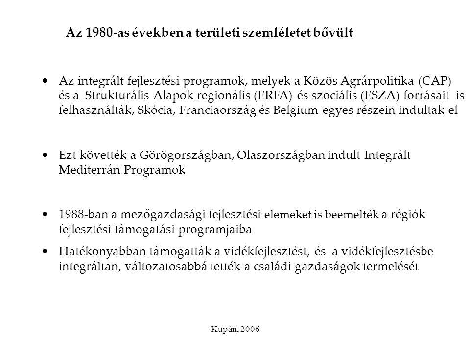 Az 1980-as években a területi szemléletet bővült