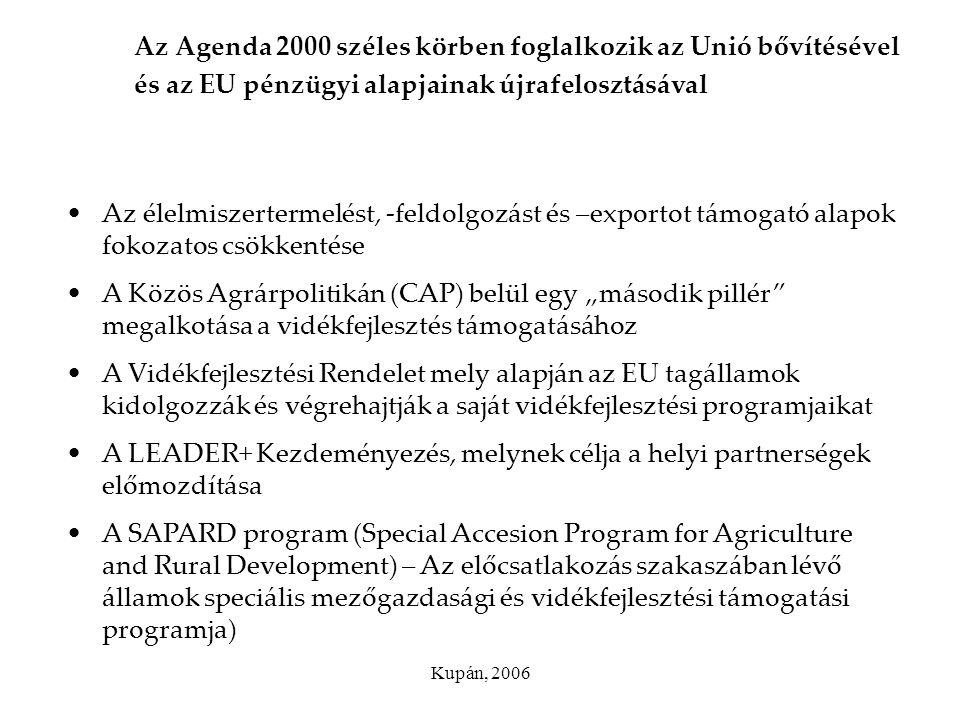 Az Agenda 2000 széles körben foglalkozik az Unió bővítésével és az EU pénzügyi alapjainak újrafelosztásával