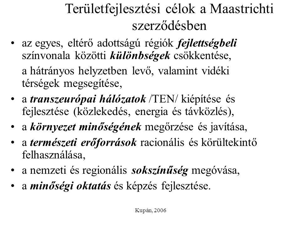 Területfejlesztési célok a Maastrichti szerződésben