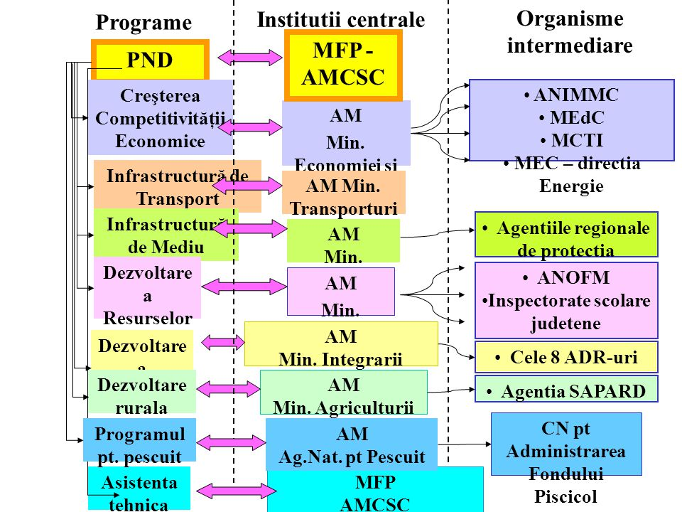 Institutii centrale Organisme intermediare MFP - AMCSC PND