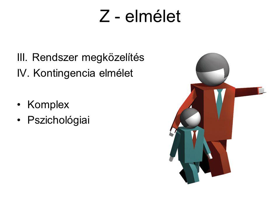 Z - elmélet III. Rendszer megközelítés IV. Kontingencia elmélet