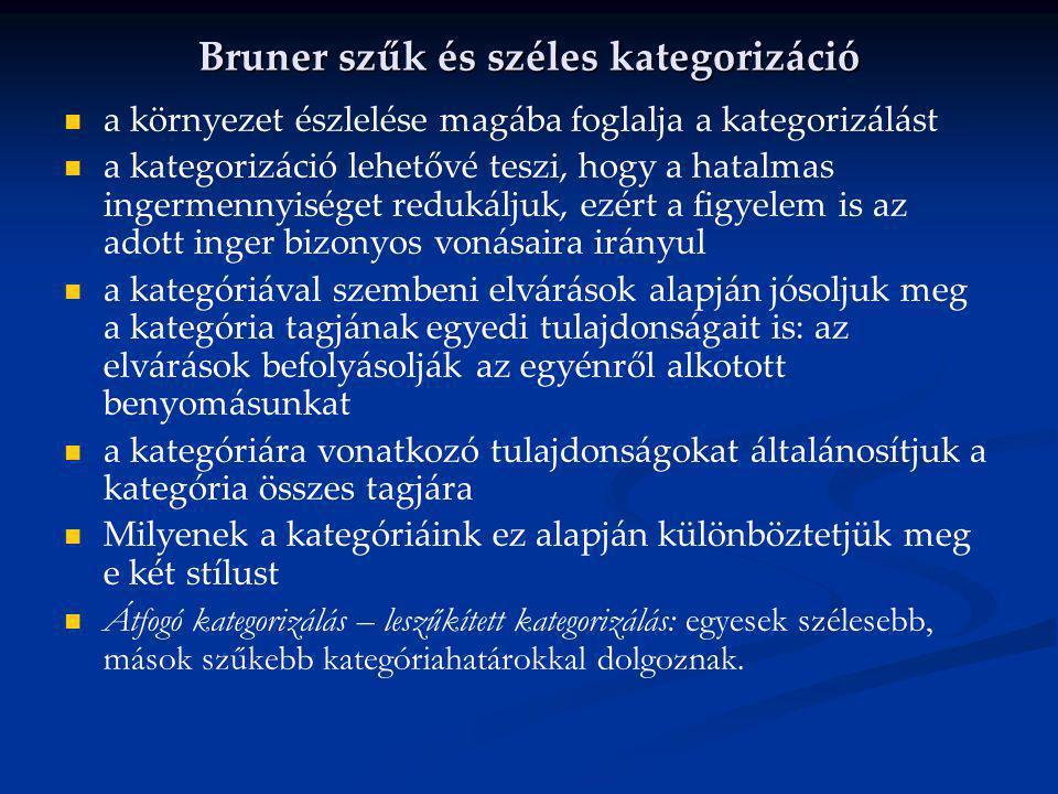 Bruner szűk és széles kategorizáció