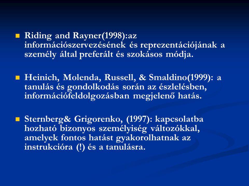 Riding and Rayner(1998):az információszervezésének és reprezentációjának a személy által preferált és szokásos módja.