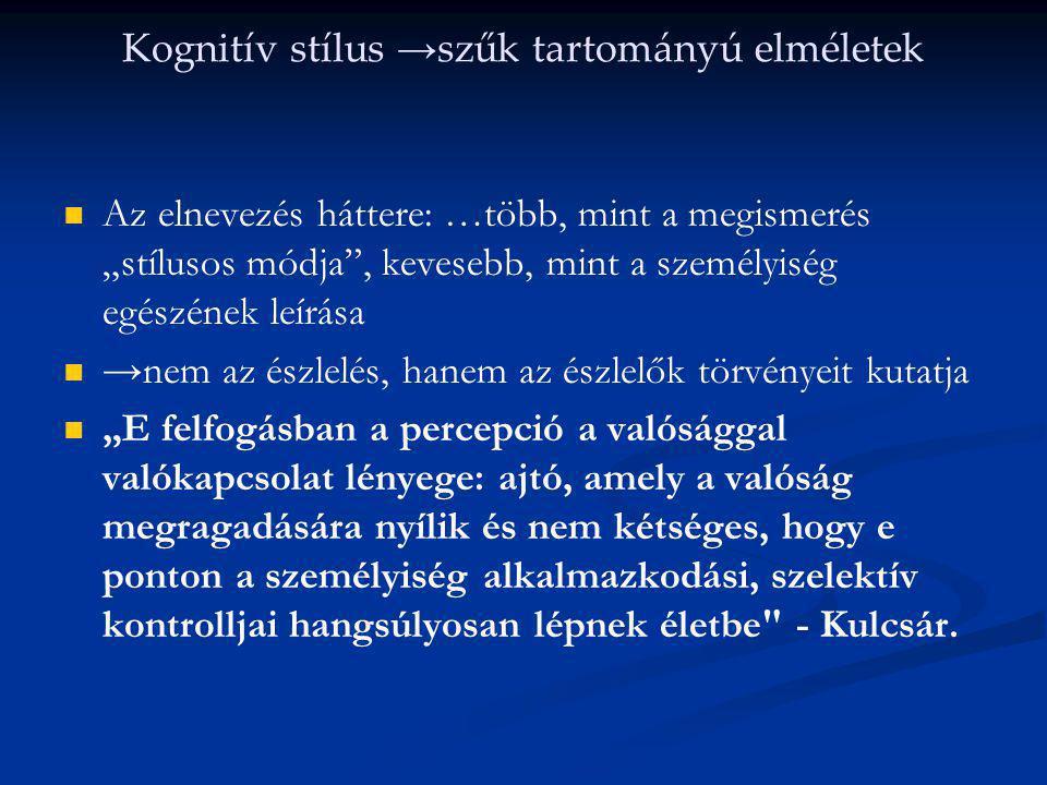 Kognitív stílus →szűk tartományú elméletek