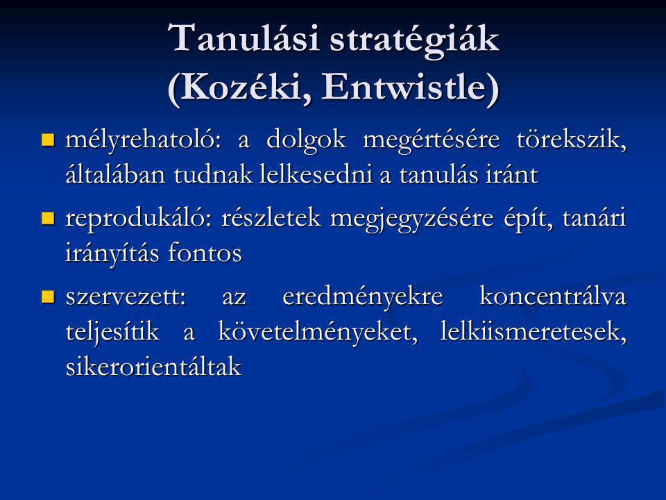 Tanulási stratégiák (Kozéki, Entwistle)