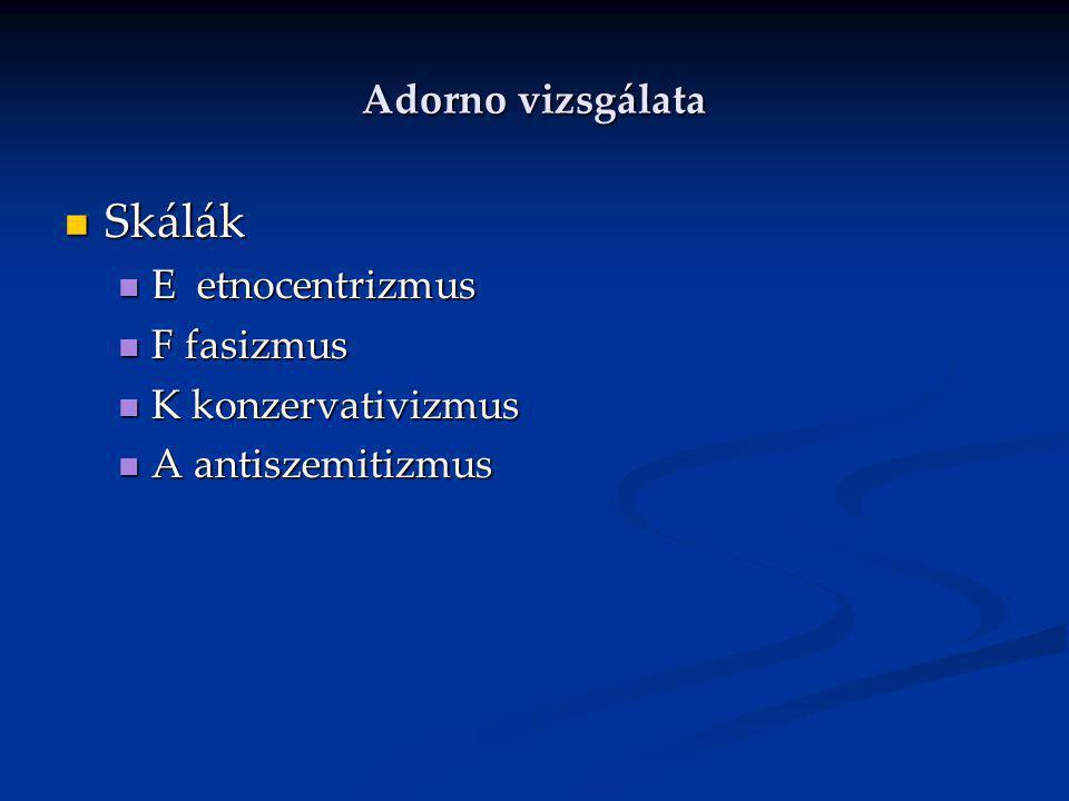 Skálák Adorno vizsgálata E etnocentrizmus F fasizmus