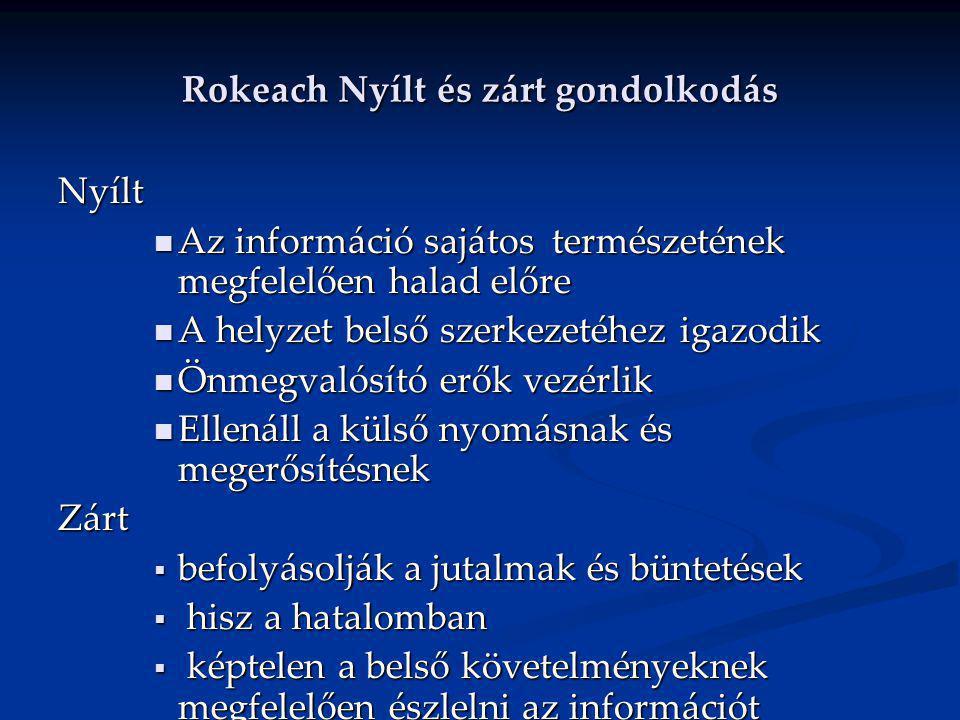 Rokeach Nyílt és zárt gondolkodás