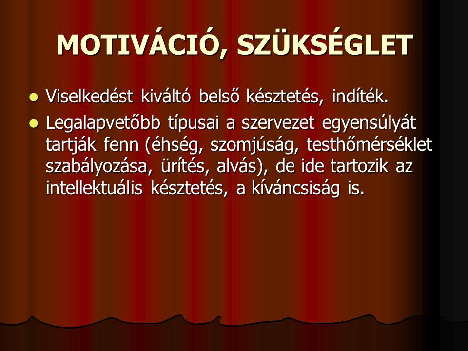MOTIVÁCIÓ, SZÜKSÉGLET Viselkedést kiváltó belső késztetés, indíték.