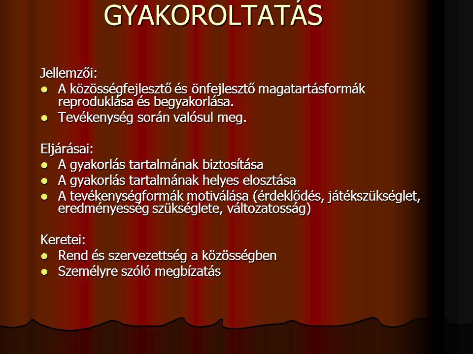 GYAKOROLTATÁS Jellemzői: