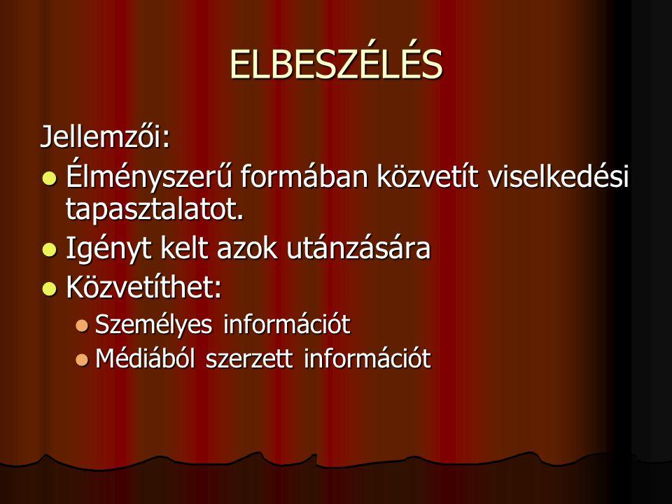 ELBESZÉLÉS Jellemzői: