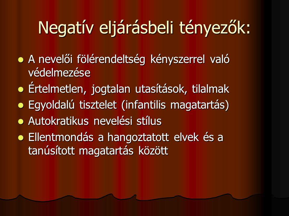 Negatív eljárásbeli tényezők: